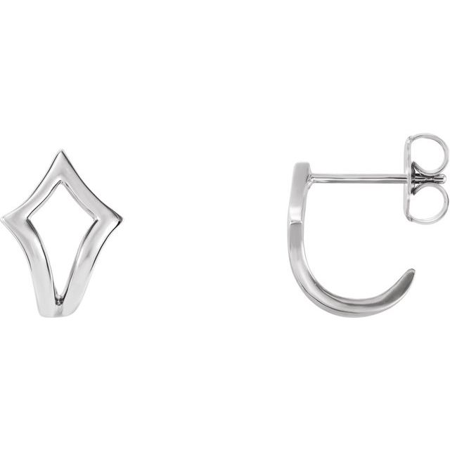 14K White Geometric J-Hoop Earrings