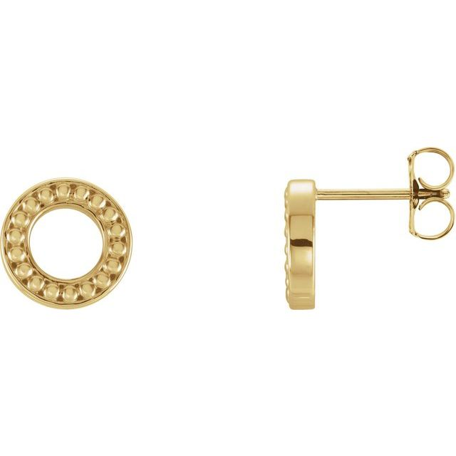 14K Yellow Beaded Stud Earrings