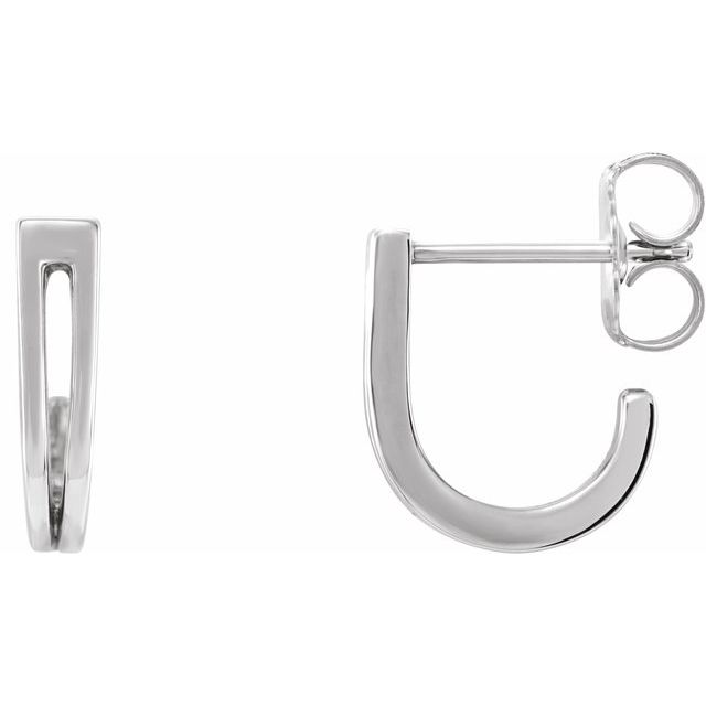 Sterling Silver Geometric J-Hoop Earrings