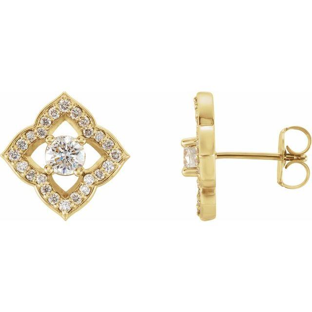 14K Yellow 3/4 CTW Diamond Halo-Style Clover Earrings