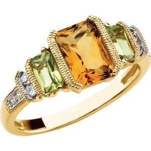 Citrine, Peridot & Diamond Accented Granulated Design Ring