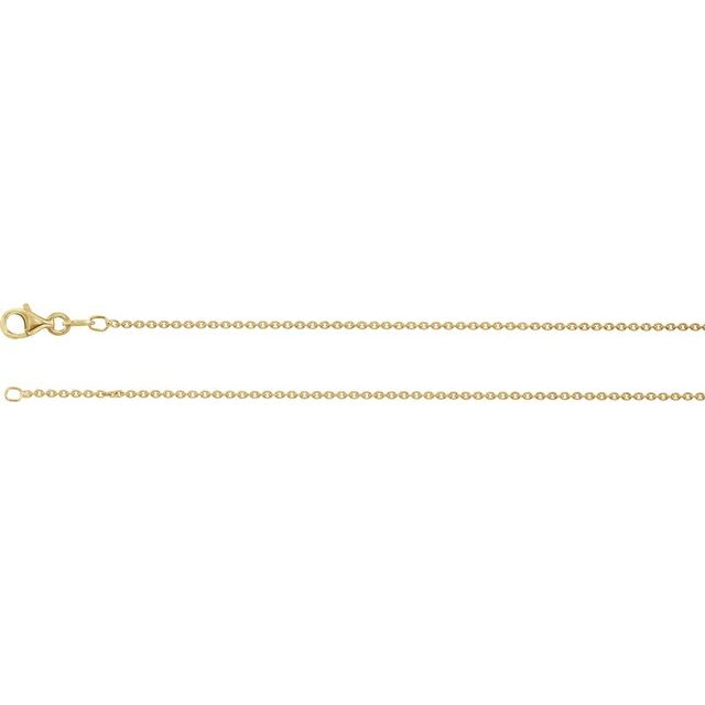 """Sterling Silver Plated with 18K Yellow 1.4 mm Cable 16"""" Chain"""