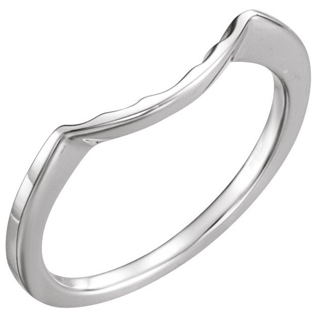 14K White Matching Band for 6.5 mm Round Ring