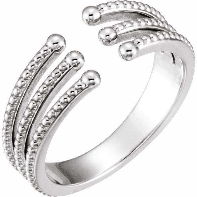 14K White Beaded Negative Space Ring