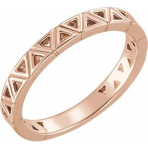 14K Rose Stackable Geometric Ring