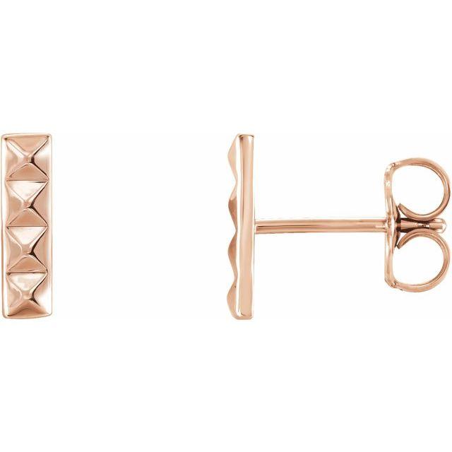 14K Rose Pyramid Bar Earrings