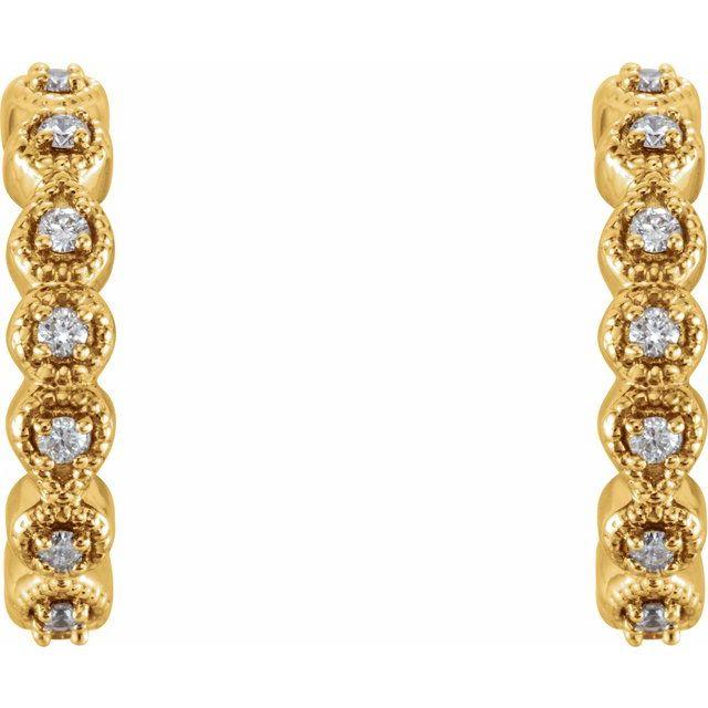 14K Yellow 1/6 CTW Diamond 15.1 mm Hoop Earrings