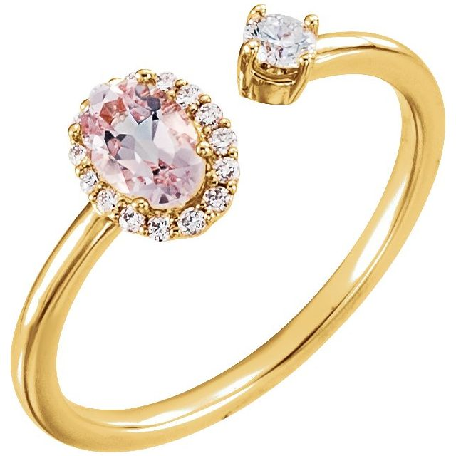 14K Yellow Morganite & 1/6 CTW Diamond Halo-Style Ring