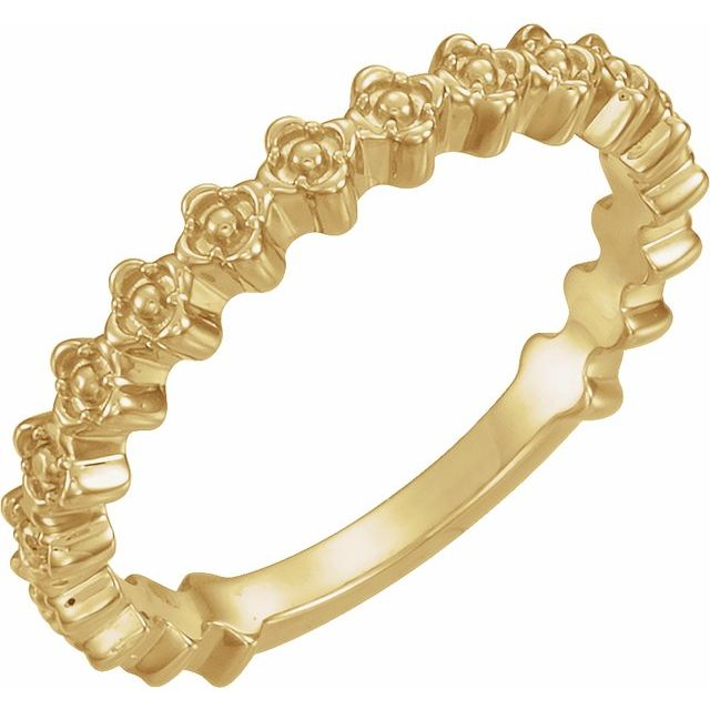 14K Yellow Clover Stackable Ring