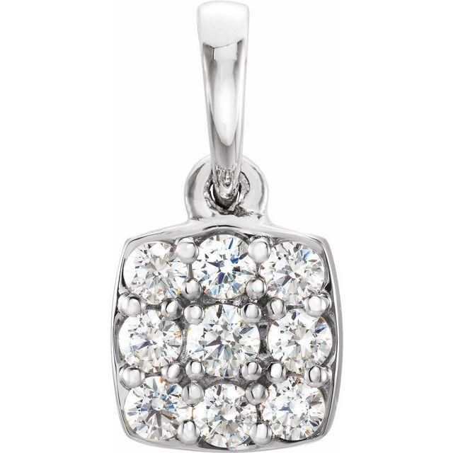 14K White 1/4 CTW Diamond Cluster Pendant