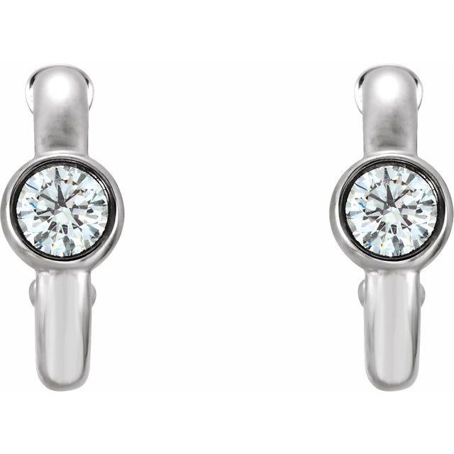 14K White 1/4 CTW Diamond Huggie Earrings