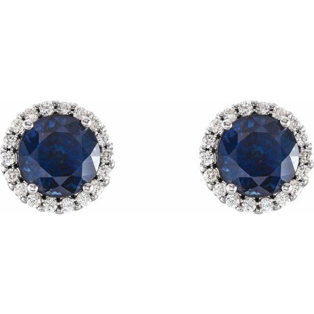 14K White Blue Sapphire & 1/8 CTW Diamond Earrings