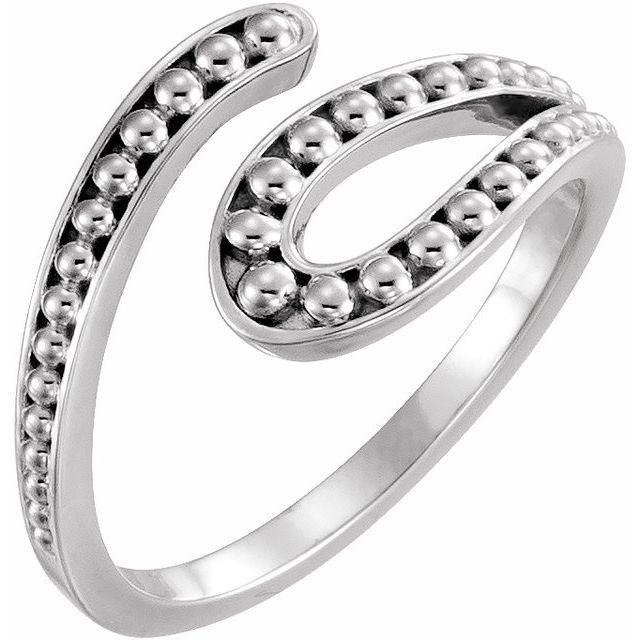 14K White Beaded Bypass Ring