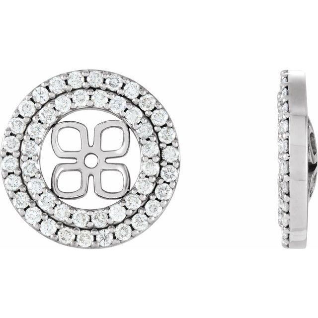 14K White 9/10 CTW Diamond Earring Jackets for 8 mm Pearl