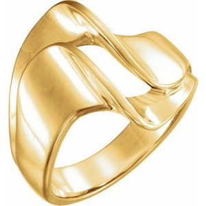 14K Yellow 18 mm Freeform Remount Ring