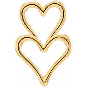 14K Yellow Double Heart Slide Pendant