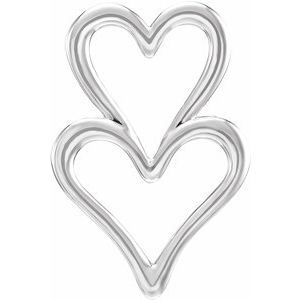 Sterling Silver Double Heart Slide Pendant