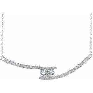 """14K White  3/8 CTW Diamond Two-Stone Bar 16-18"""" Necklace"""