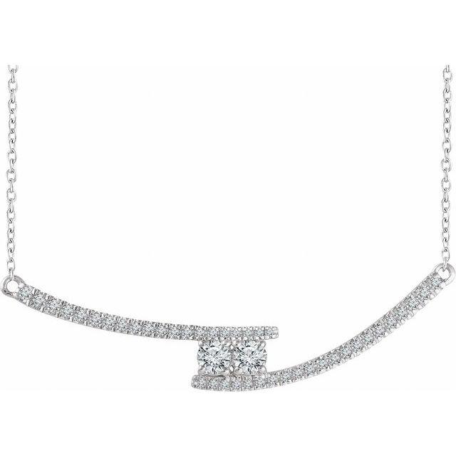 14K White  3/8 CTW Diamond Two-Stone Bar 16-18
