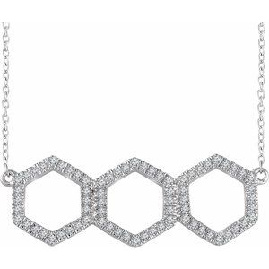 "14K White 1/4 CTW Diamond Geometric 16-18"" Necklace"