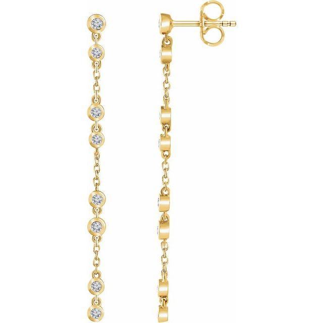 14K Yellow 1/3 CTW Diamond Chain Earrings