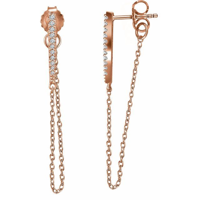 14K Rose 1/10 CTW Diamond Chain Earrings