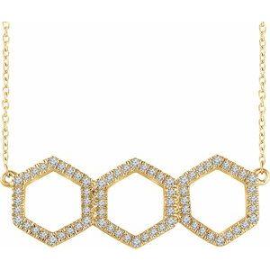 "14K Yellow 1/4 CTW Diamond Geometric 16-18"" Necklace"