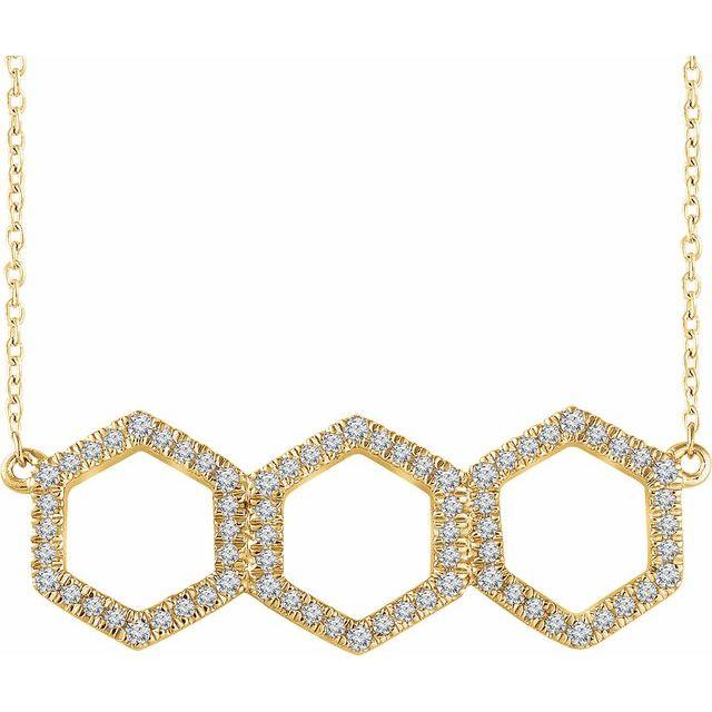 14K Yellow 1/4 CTW Diamond Geometric 16-18