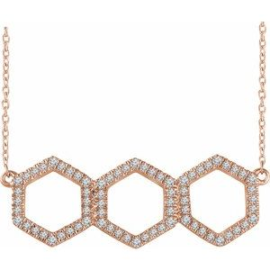"14K Rose 1/4 CTW Diamond Geometric 16-18"" Necklace"