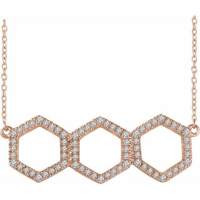 14K Rose 1/4 CTW Diamond Geometric 16-18