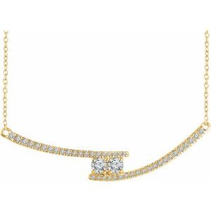 "14K Yellow  3/8 CTW Diamond Two-Stone Bar 16-18"" Necklace"