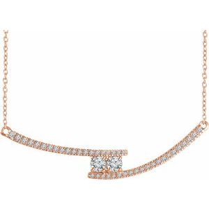 "14K Rose  3/8 CTW Diamond Two-Stone Bar 16-18"" Necklace"