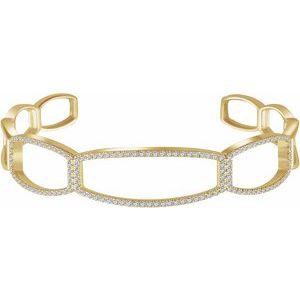 "14K Yellow 3/4 CTW Diamond Cuff 6 1/4"" Bracelet"