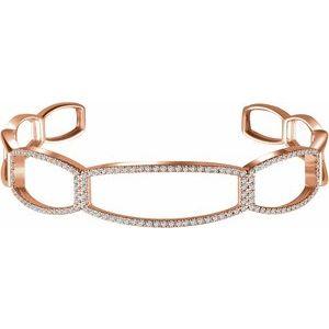 "14K Rose 3/4 CTW Diamond Cuff 6 1/4"" Bracelet"