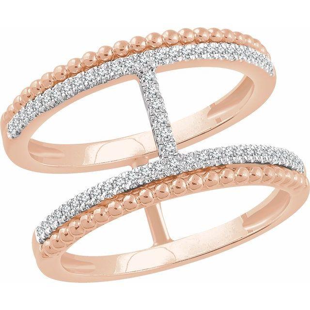 14K Rose 1/5 CTW Diamond Negative Space Ring