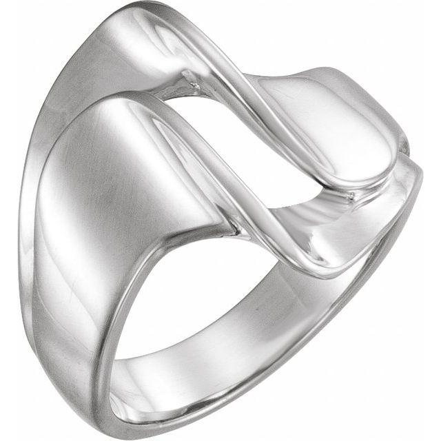14K White 18 mm Freeform Remount Ring