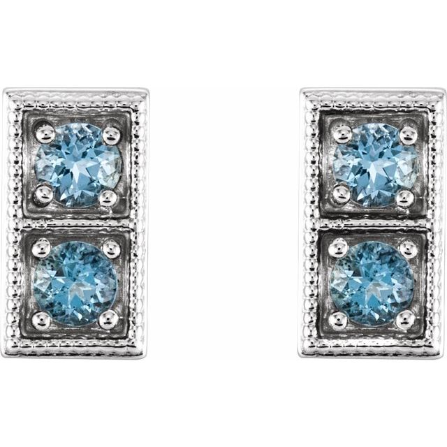 14K White Aquamarine Two-Stone Earrings