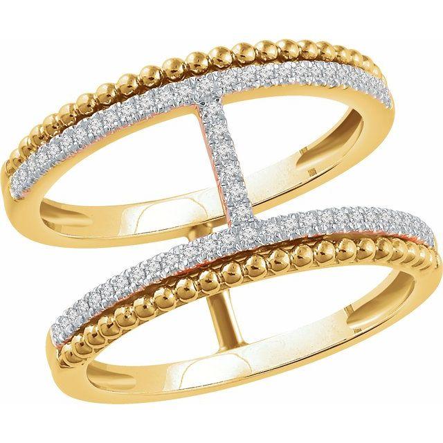 14K Yellow 1/5 CTW Diamond Negative Space Ring