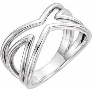 14K White Criss-Cross Ring