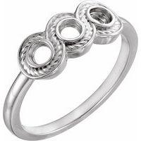 18K White 3 mm Round Three-Stone Ring Mounting