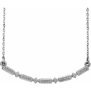 "Sterling Silver Beaded Bar 16-18"" Necklace"
