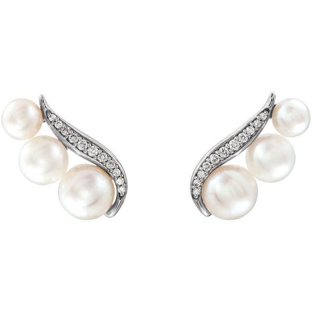 14K White Freshwater Pearl & 1/10 CTW Diamond Ear Climbers