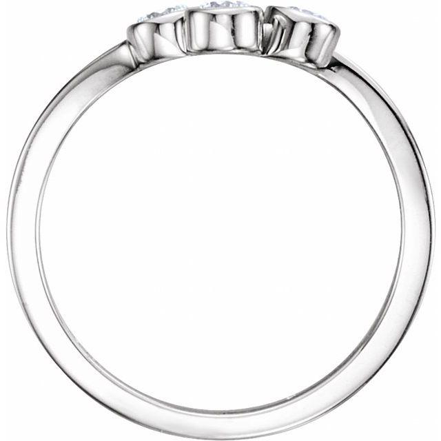 14K White 3 mm Round Three-Stone Ring Mounting