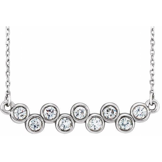 "14K White 1/2 CTW Diamond Bezel-Set 16-18"" Necklace"