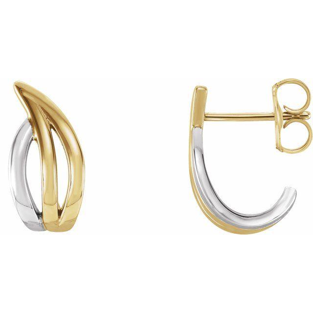 14K Yellow & White Freeform J-Hoop Earrings