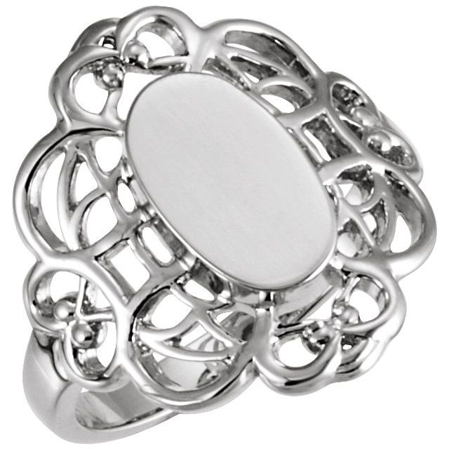 14K White 11x6.5 mm Oval Signet Ring
