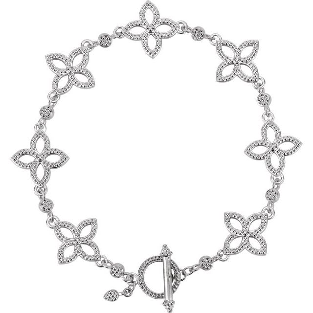 Sterling Silver Floral-Inspired 7.5
