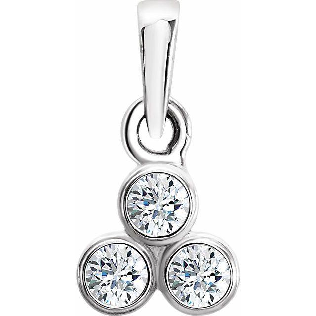 14K White 1/10 CTW Diamond 3-Stone Pendant