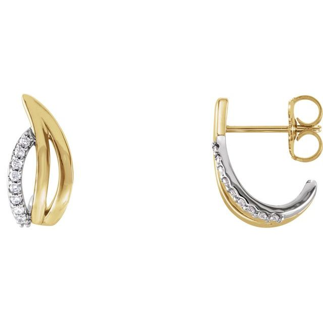 14K Yellow/White 1/10 CTW Diamond Freeform J-Hoop Earrings