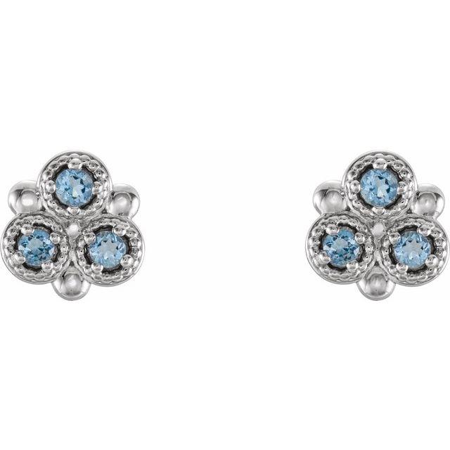 14K White Aquamarine Three-Stone Earrings